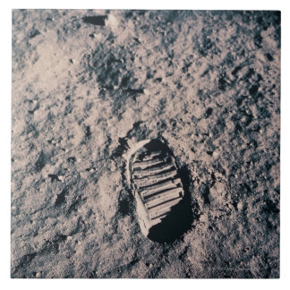 Footprint on Lunar Surface Large Square Tile