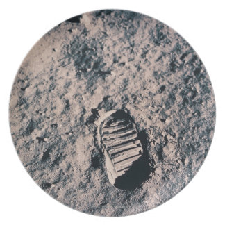 Footprint on Lunar Surface Plate