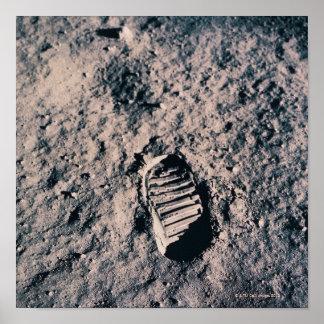 Footprint on Lunar Surface Poster