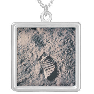 Footprint on Lunar Surface Silver Plated Necklace