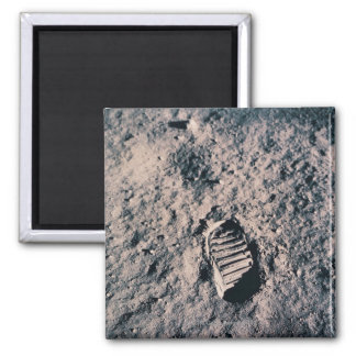 Footprint on Lunar Surface Square Magnet