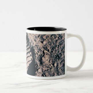 Footprint on Lunar Surface Two-Tone Coffee Mug