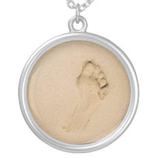 Footprint on the Beach Silver Plated Necklace