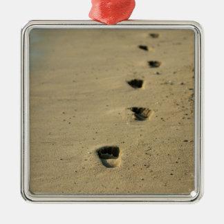 Footprints alongside the sea christmas ornament