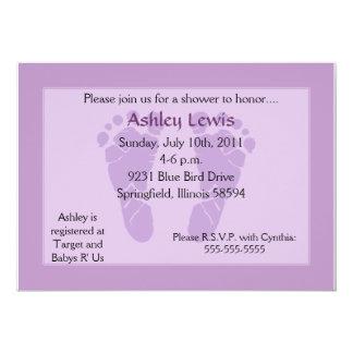 Footprints Baby Shower - Purple Card