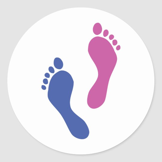footprints coloured classic round sticker