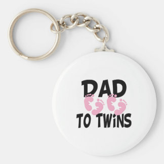 Footprints Dad to Twins (twin girls) Basic Round Button Key Ring