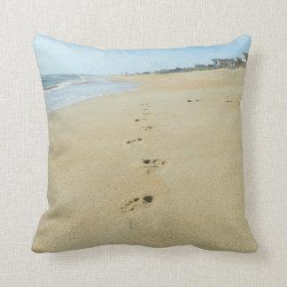 Footprints Down The Beach Throw Cushion