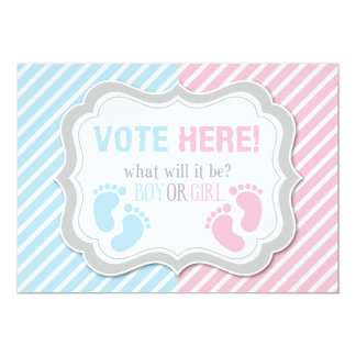 Footprints Gender Reveal Voting Table Sign 13 Cm X 18 Cm Invitation Card