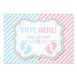 Footprints Gender Reveal Voting Table Sign 13 Cm X 18 Cm Invitation Card