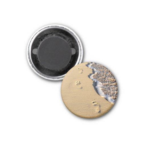 Footprints in sand on beach fridge magnet