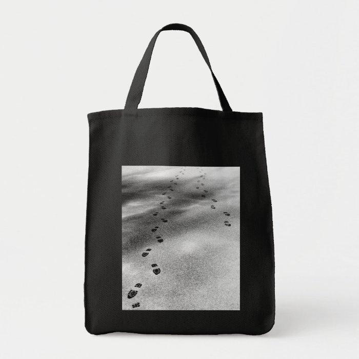 Footprints in Snow Grocery Tote Bag