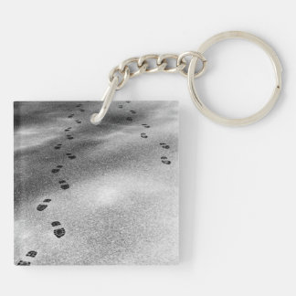 Footprints in Snow Double-Sided Square Acrylic Key Ring