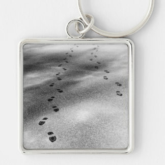 Footprints in Snow Silver-Colored Square Key Ring