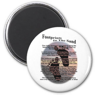 Footprints in the Sand... 6 Cm Round Magnet