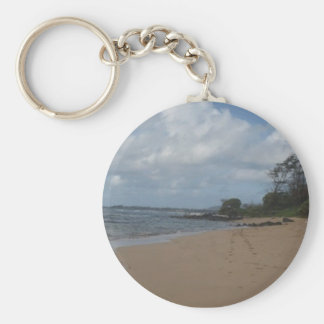 Footprints in the Sand Basic Round Button Key Ring