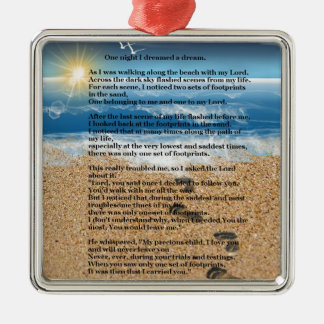 Footprints in the Sand Christmas Ornament