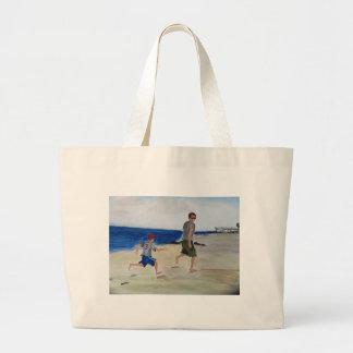 Footprints in the sand jpg tote bags