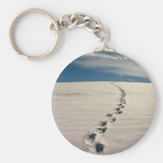 Footprints in the sand key chains