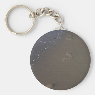 Footprints in the sand Photo Keychain