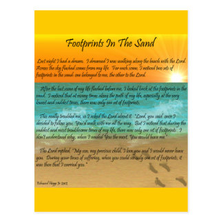 Footprints in the Sand Postcard