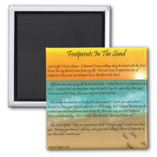 Footprints in the Sand Square Magnet