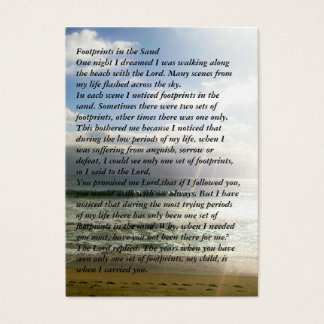 Footprints Memorial Prayer Card