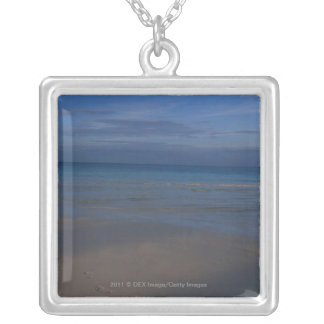 Footprints on beach silver plated necklace