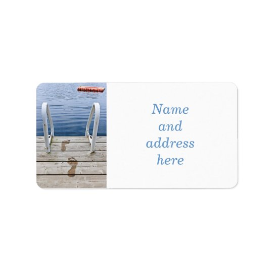 Footprints on dock at summer lake address label