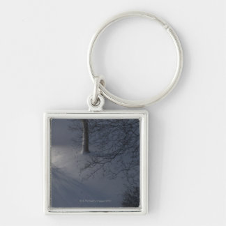 Footprints on Snow, Hamburg, Germany Silver-Colored Square Key Ring
