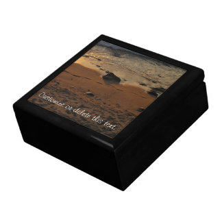 Footprints on the Beach; Customizable Large Square Gift Box