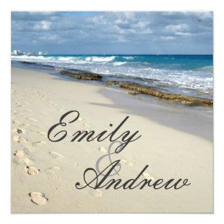 footprints on the beach wedding invitation