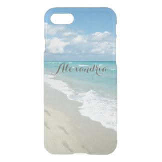 Footprints on White Sandy Beach, Pretty Aqua Blue iPhone 8/7 Case
