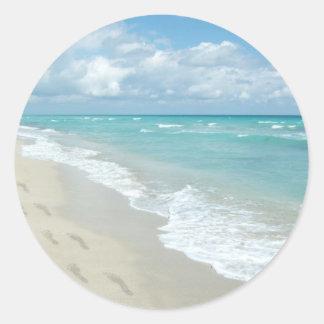 Footprints on White Sandy Beach, Scenic Aqua Blue Classic Round Sticker