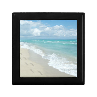Footprints on White Sandy Beach, Scenic Aqua Blue Gift Box