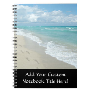Footprints on White Sandy Beach, Scenic Aqua Blue Notebooks