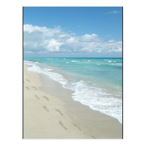 Footprints on White Sandy Beach, Scenic Aqua Blue Post Card