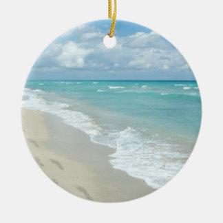 Footprints on White Sandy Beach, Scenic Aqua Blue Round Ceramic Decoration