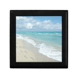 Footprints on White Sandy Beach, Scenic Aqua Blue Small Square Gift Box