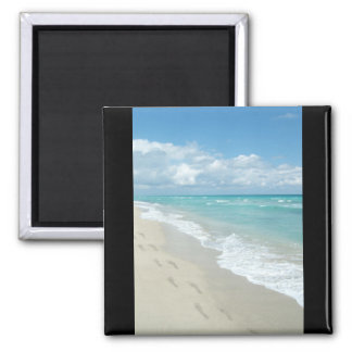 Footprints on White Sandy Beach, Scenic Aqua Blue Square Magnet