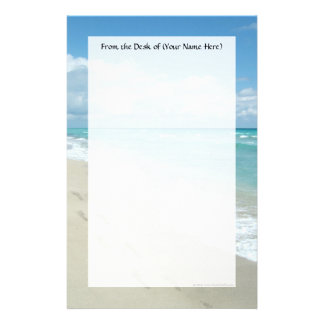Footprints on White Sandy Beach, Scenic Aqua Blue Stationery Design