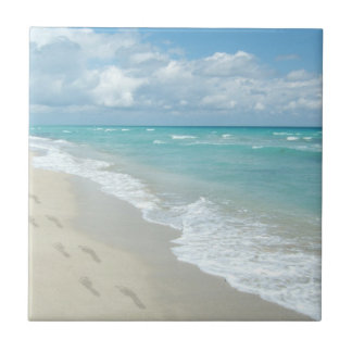Footprints on White Sandy Beach, Scenic Aqua Blue Tile