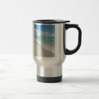 Footprints on White Sandy Beach, Scenic Aqua Blue Travel Mug