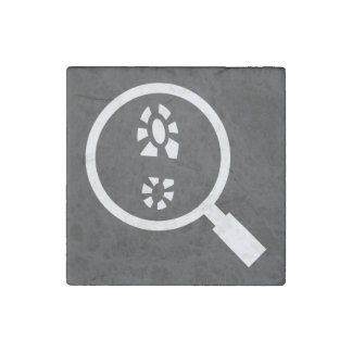 Footprints Searches Sign Stone Magnet