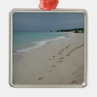 Footsteps in Bermuda Sand Silver-Colored Square Decoration