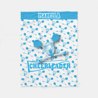 For a Cheerleader -Baby Blue and White Fleece Blanket