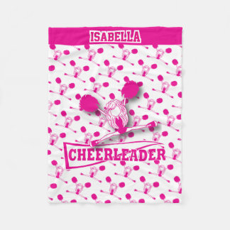 For a Cheerleader - Hot Pink and White Fleece Blanket