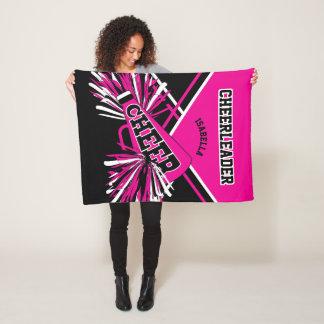 For a Cheerleader - Hot Pink, White & Black Fleece Blanket