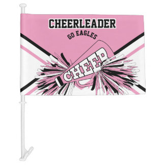 For a Cheerleader - Pink, White & Black Car Flag