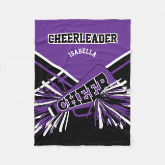 For a Cheerleader - Purple, White & Black Fleece Blanket